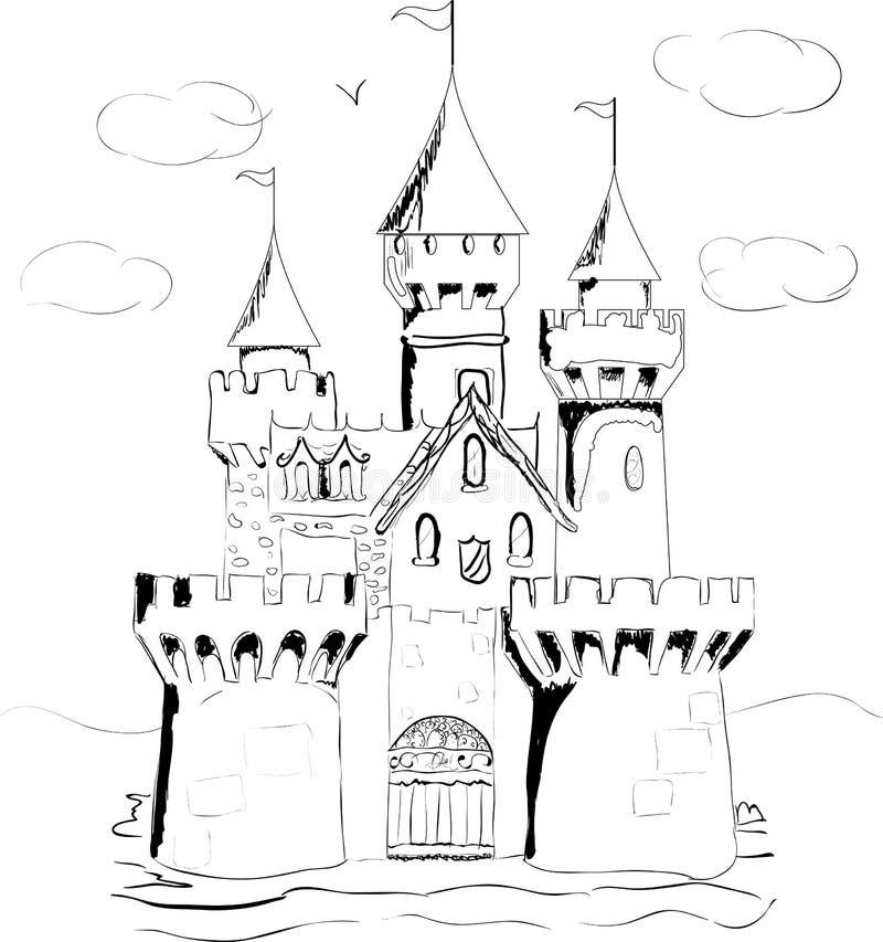 Сказка дворца книги цвета иллюстрация штока