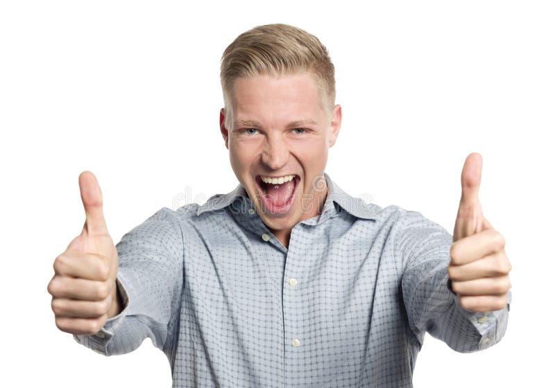 Overjoyed бизнесмен давая большие пальцы руки вверх. стоковые фотографии rf