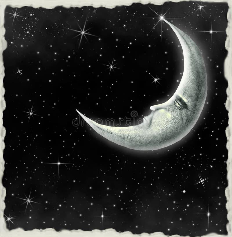 сказовое ночное небо луны llustration иллюстрация вектора