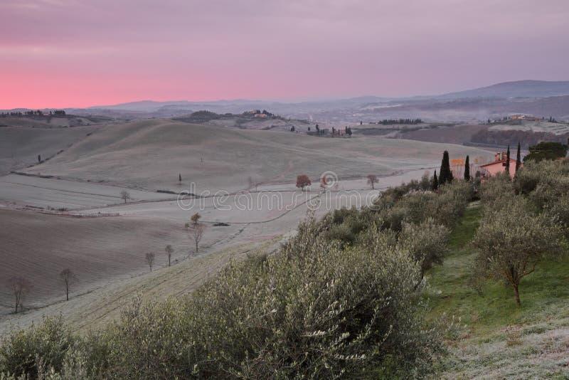 Сказовый рассвет над тосканскими холмами в зиме с гололедью утра, t стоковое изображение rf