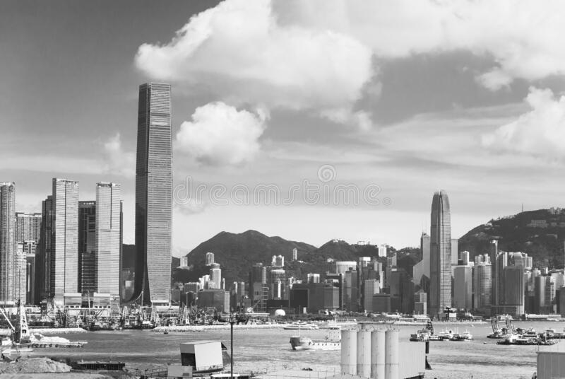 Скайлайн гавани Виктория в Гонконге стоковая фотография rf