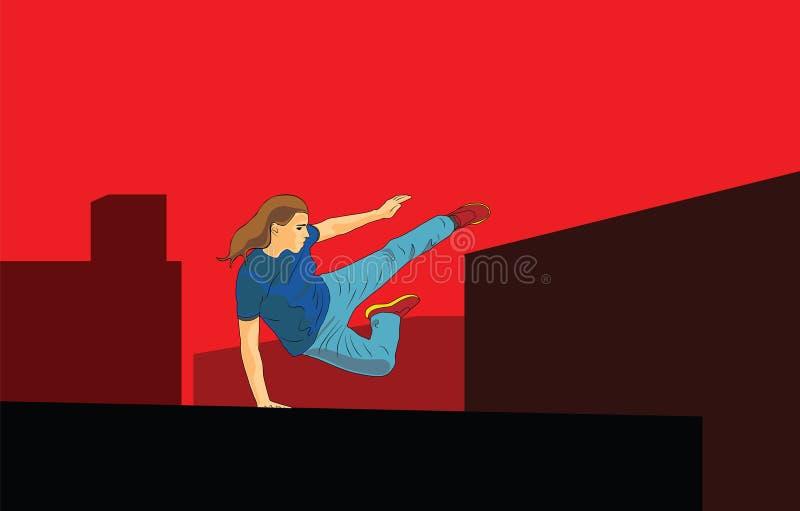 скакать девушки Parkour в городе иллюстрация штока