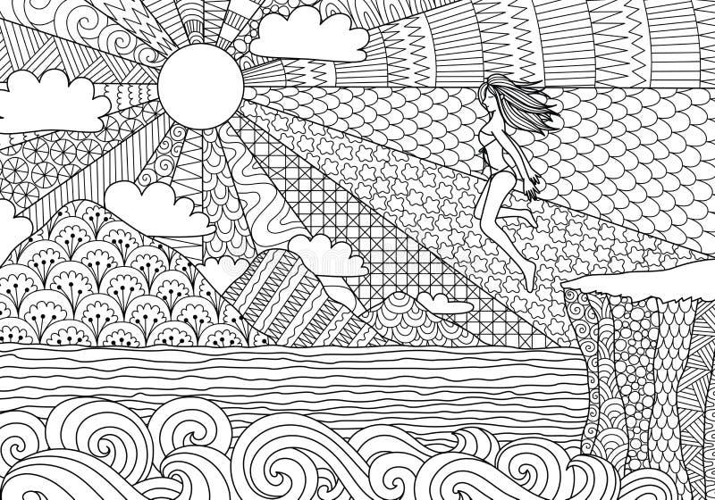 Скакать девушки бикини иллюстрация вектора
