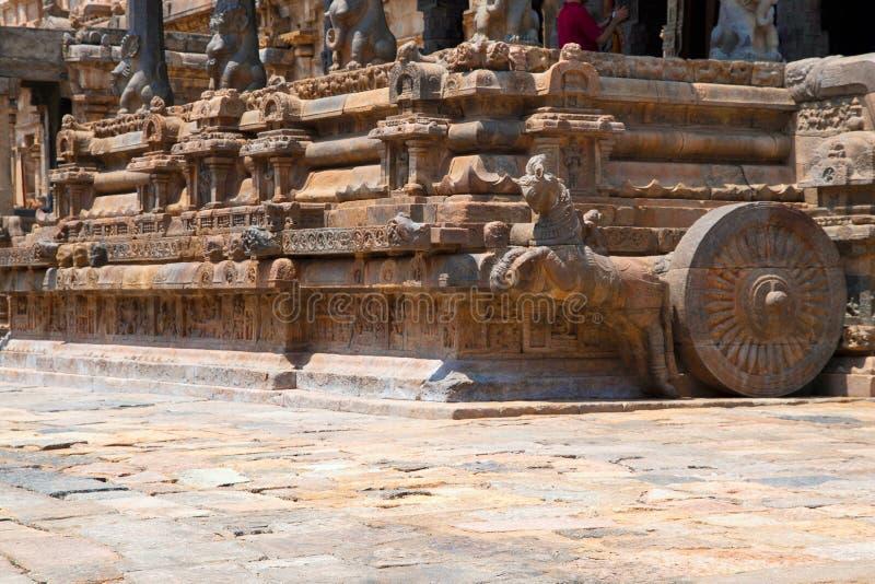 Скакать лошадь и ниши на плинтусе Агры-mandapa, висок Airavatesvara, Darasuram, Tamil Nadu Взгляд от юговостока стоковое изображение