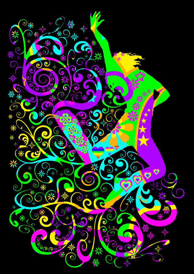 скакать танцора в стиле фанк бесплатная иллюстрация