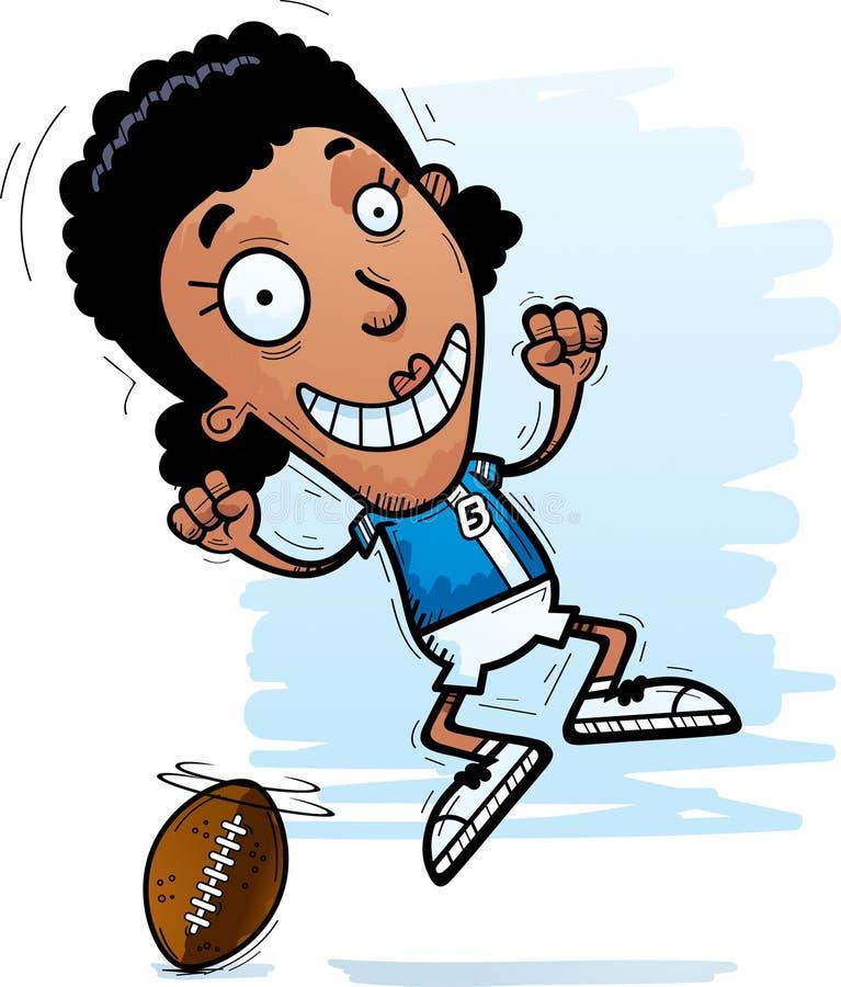 Скакать футболиста шаржа черный иллюстрация штока