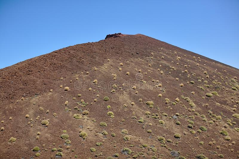 Скала Брауна в национальном парке, в горах, ландшафт с заводами, текстура, отключение Тенерифе стоковая фотография