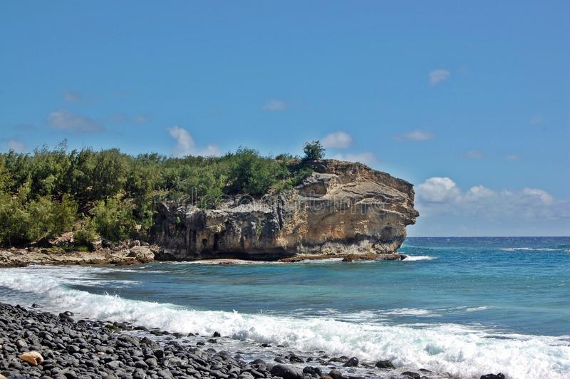 Скала пляжа в Гаваи стоковые изображения