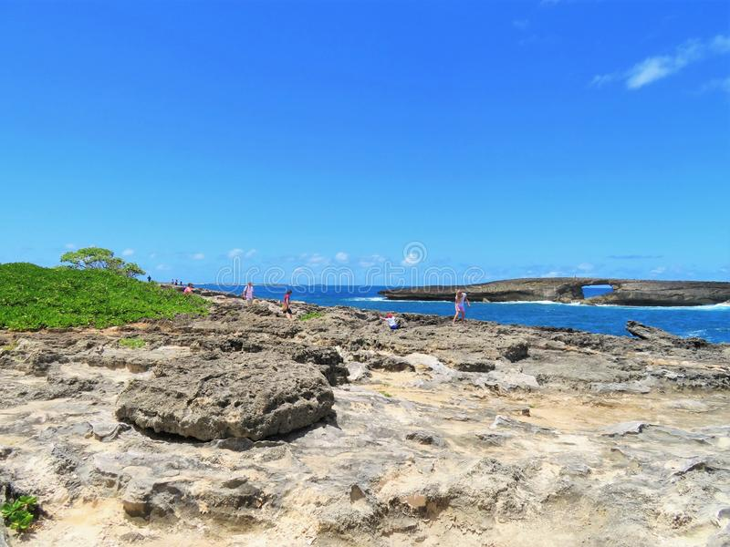 Скалистая линия пункта Leie, популярная достопримечательность побережья на северном береге Оаху, Гаваи стоковое фото rf