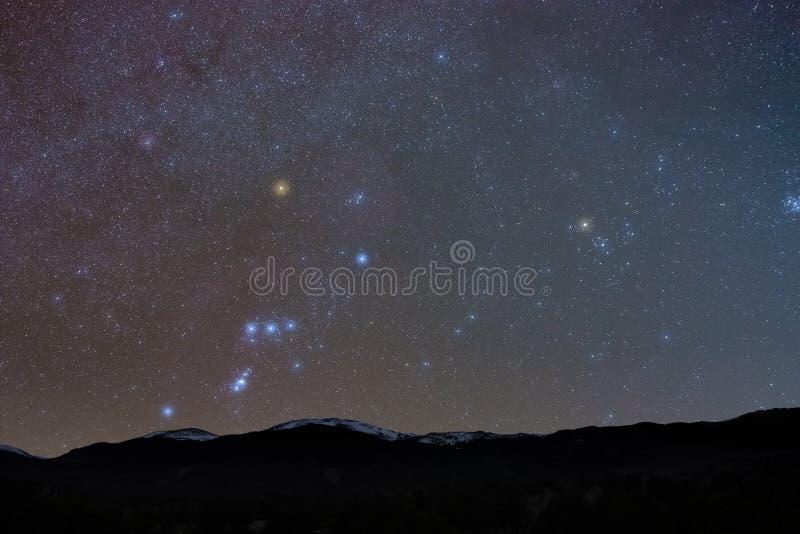 Скалистые горы в Starlight стоковые изображения