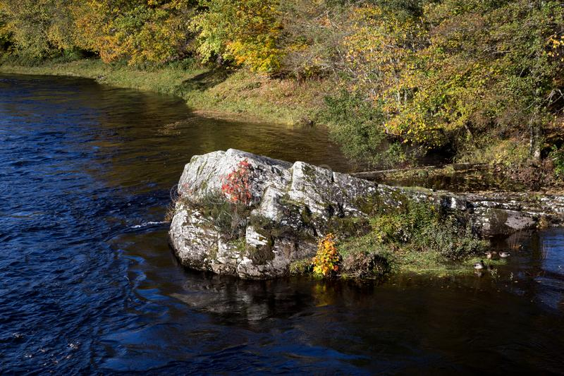 Скалистый выход на поверхность в шотландском реке гористой местности стоковая фотография rf