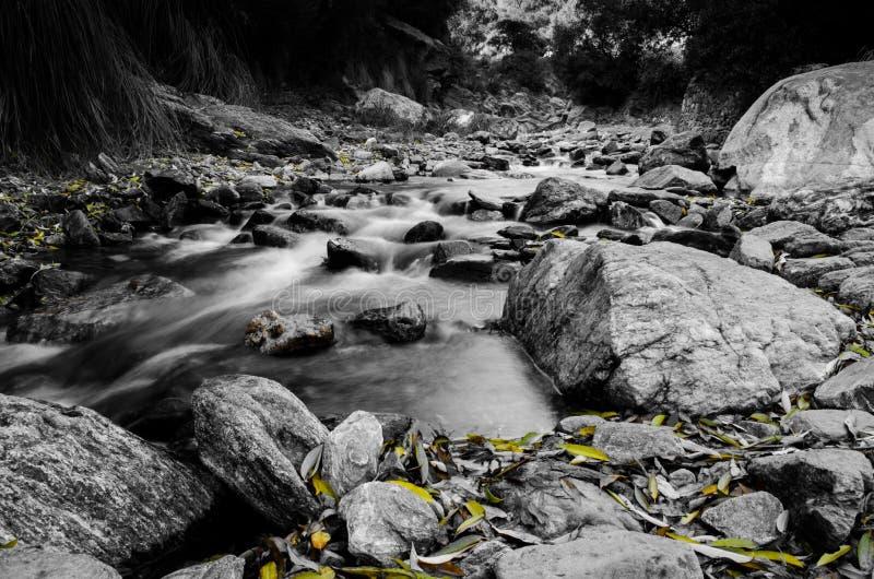 Скалистый ландшафт на небольшом реке стоковое фото rf