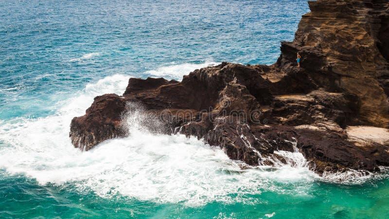 Скалистый сценарный Seascape Оаху Гаваи стоковые фотографии rf