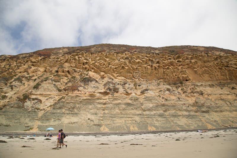 Скалы и пляж на парке штата сосны Torrey в Калифорния стоковое изображение