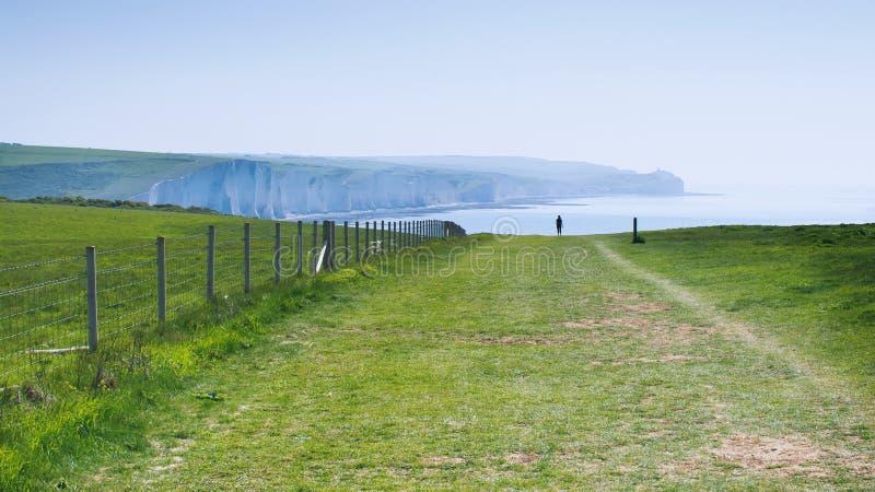Скалы мела, путь, голова Seaford, восточное Сассекс, Великобритания стоковые фотографии rf