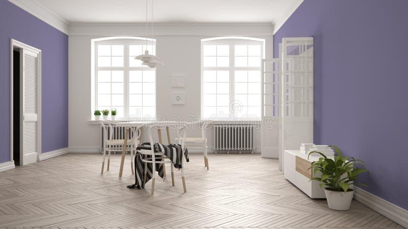 Скандинавская белая и пурпурная столовая, деревянный шевронный паркетный пол, таблица и стулья, окна, дверь и радиаторы иллюстрация вектора