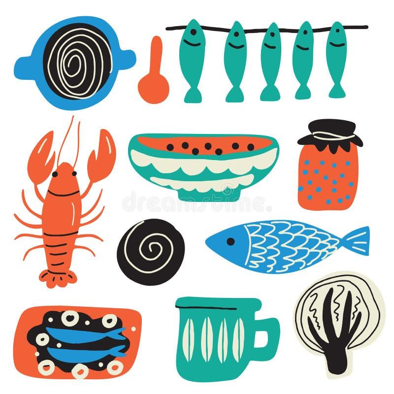 Скандинавская концепция еды Иллюстрация руки вычерченная, сделанная в векторе Ракы, шар, рыба, капуста, варенье, чашка, сэндвич иллюстрация штока
