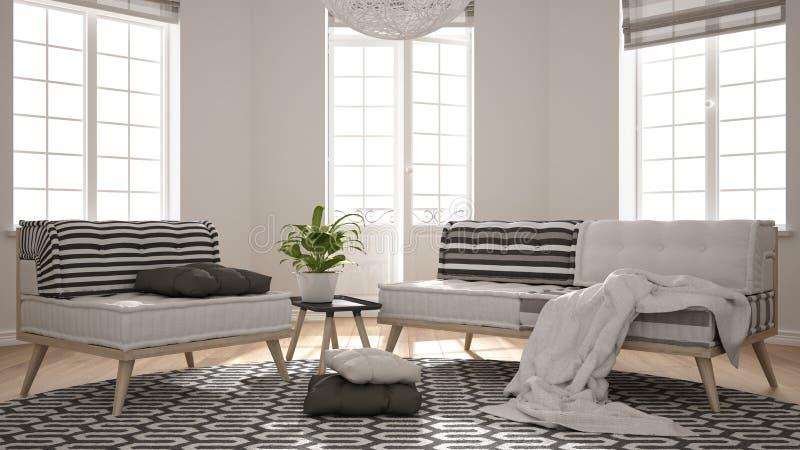 Скандинавская минималистская живущая комната с большими окнами, софой, креслом и ковром, современным дизайном интерьера Дизайнер  стоковые фото