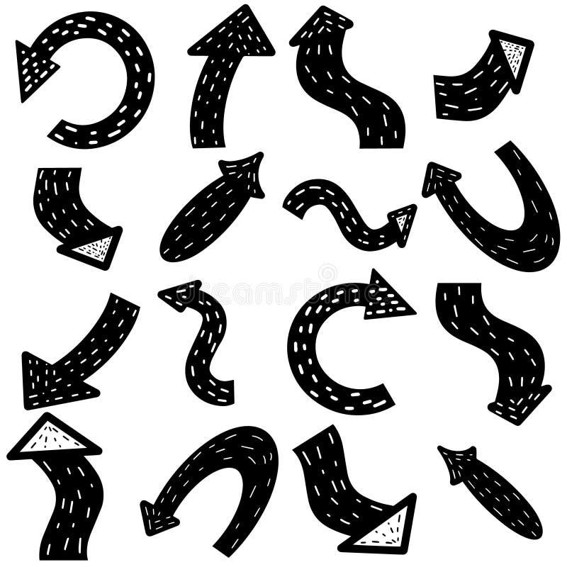 Скандинавские стрелки Стрелка руки вычерченная Черные стрелки установили изолированный на белой предпосылке Указатель для дела Ку иллюстрация вектора