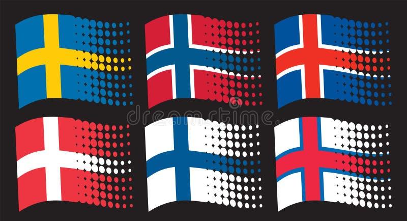 Скандинавские флаги бесплатная иллюстрация