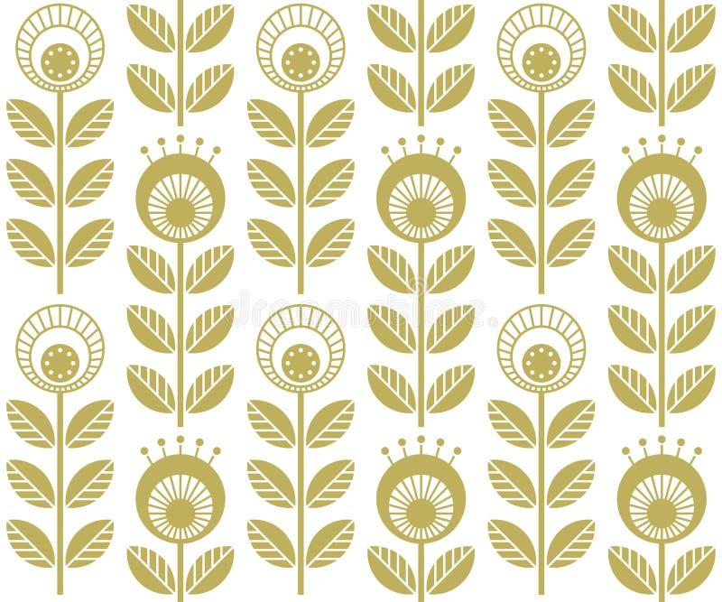 Скандинавские фольклорные цветки стиля, безшовная картина вектора иллюстрация штока