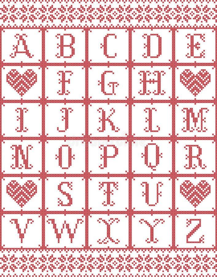 Скандинавский алфавит стиля воодушевил норвежским рождеством, картиной праздничной зимы безшовной в перекрестном стежке с сердцем иллюстрация вектора