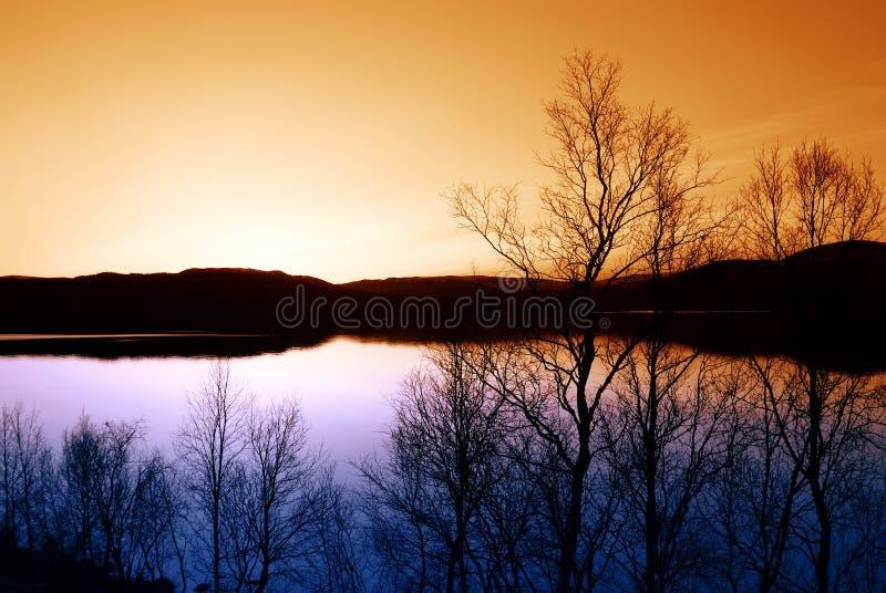 скандинавский заход солнца стоковые фото