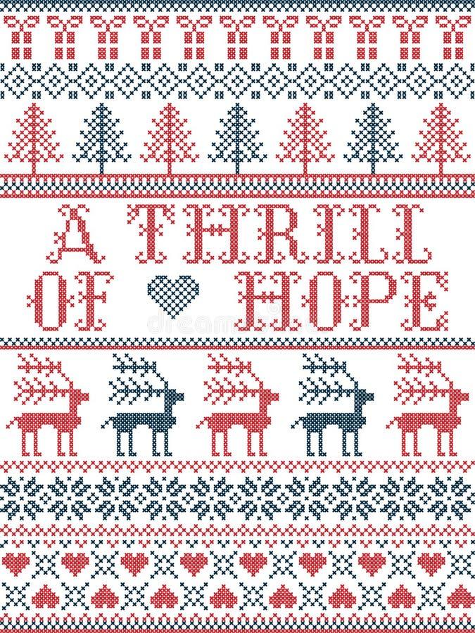 Скандинавский рождественский рисунок, вдохновленный захватом надежды, восклицает праздничные зимние элементы в перекрестном шовен иллюстрация вектора