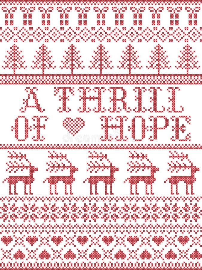 Скандинавский рождественский рисунок, вдохновленный захватом надежды, восклицает праздничные зимние элементы в перекрестном швове стоковые фото