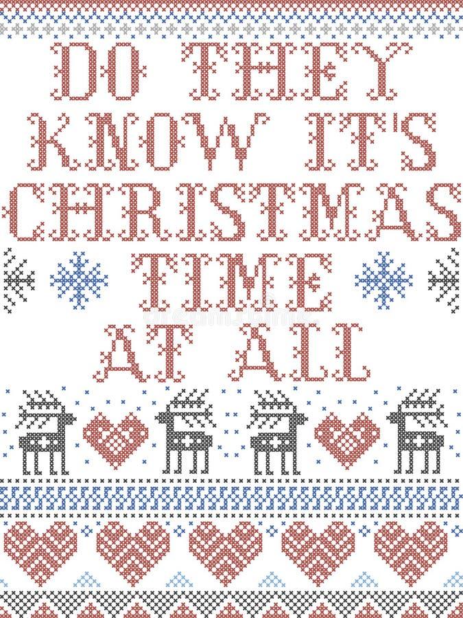 Скандинавский рождественский рисунок, вдохновленный 'Знают ли они свое рождественское время', на всех праздничных элементах в кре иллюстрация вектора