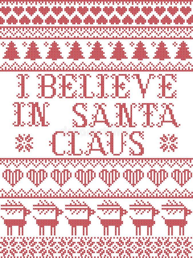 Скандинавский рождественский рисунок, вдохновленный мной, я верю в Санта Клаус, слова песни праздничные зимние элементы в кросс-ш бесплатная иллюстрация