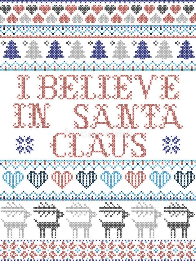 Скандинавский рождественский рисунок, вдохновленный мной, я верю в Санта Клаус, слова песни праздничные зимние элементы в кросс-ш иллюстрация штока