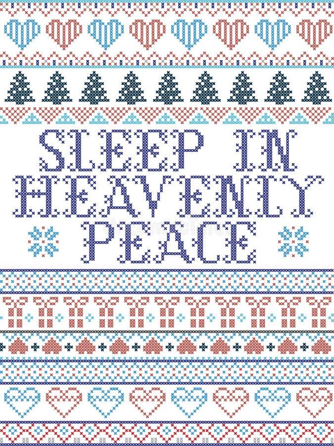 Скандинавский рождественский рисунок, вдохновленный Соном в Небесном мире, слова песни праздничные зимние элементы в кросс-швов с бесплатная иллюстрация