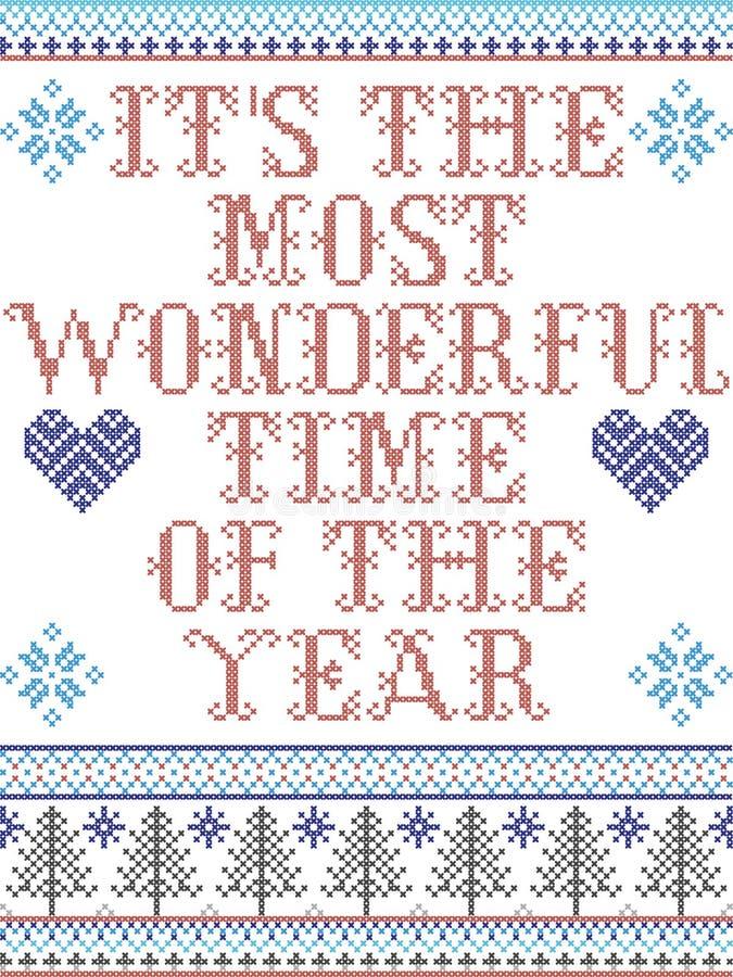 Скандинавский рождественский рисунок, вдохновленный этим самым замечательным временем года иллюстрация штока