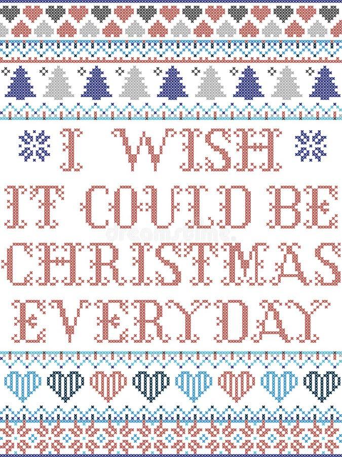 Скандинавский рождественский рисунок, вдохновленный, я бы хотел, чтобы это были рождественские праздничные элементы в кросс-штепс иллюстрация штока