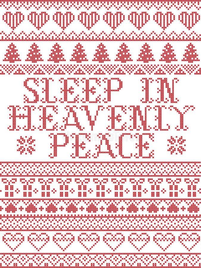 Скандинавский рождественский рисунок, вдохновленный Sleep in Heavenly Peace, в исполнении песни праздничные зимние элементы в кро иллюстрация вектора