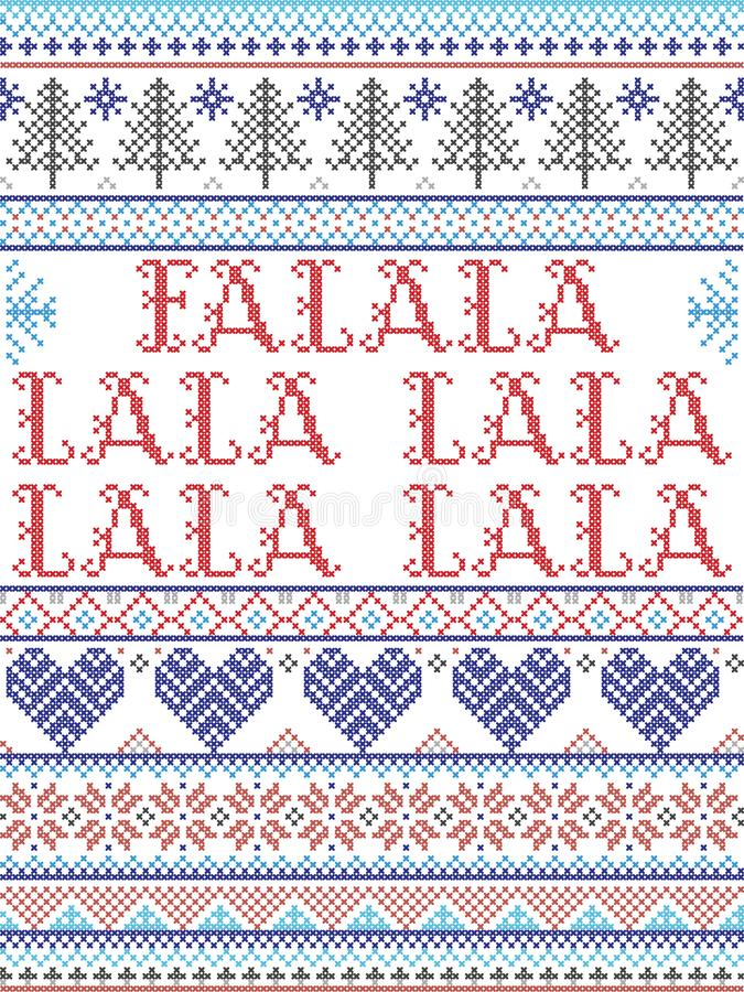 Скандинавский рождественский рисунок, вдохновляемый 'Приобретите себе веселые рождественские праздничные элементы в кросс-шов' стоковые изображения