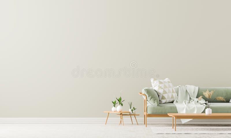 Скандинавский стиль внутренний с софой и таблицей coffe Пустая насмешка стены вверх в минималистском интерьере с пастельными цвет бесплатная иллюстрация