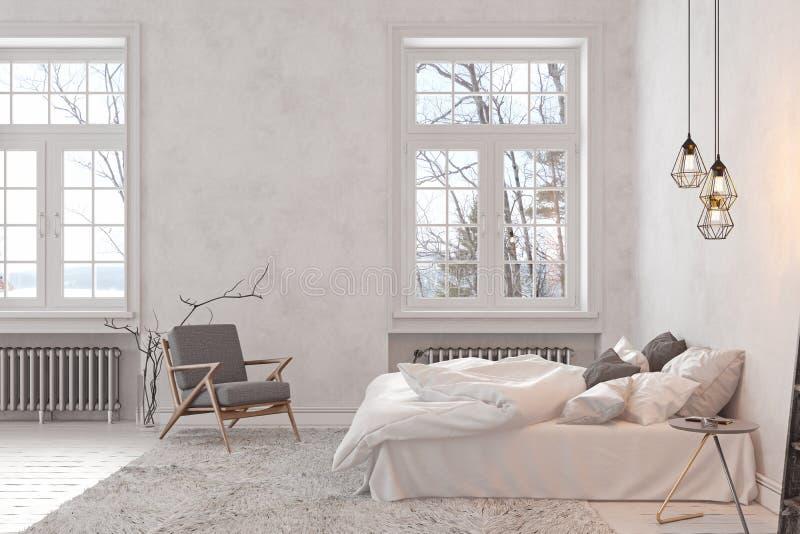 Скандинав, спальня просторной квартиры внутренняя пустая белая иллюстрация вектора
