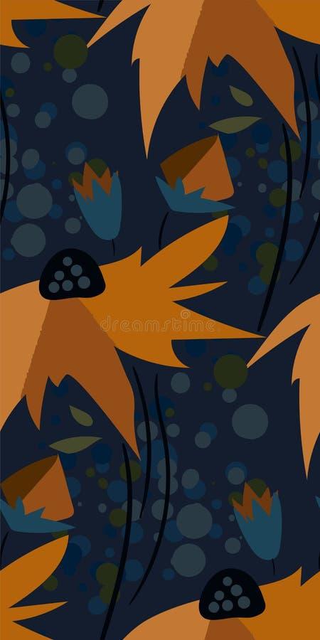 Скандинав флористического дизайна вектора картины желтого цветка темный безшовный примитивный иллюстрация штока