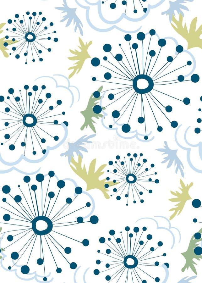 Скандинав флористического дизайна вектора картины одуванчика безшовный примитивный иллюстрация вектора