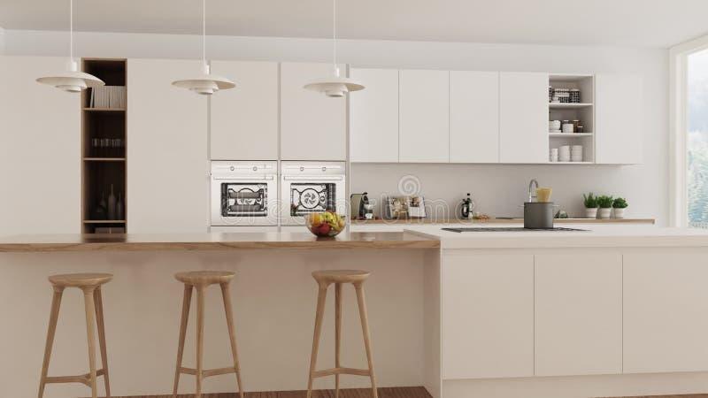 Скандинавская белая кухня, внутренняя прогулка до конца, устоичивый кулачок, minimalistic дизайн видеоматериал