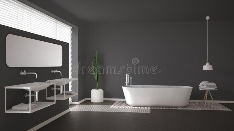 Скандинавская ванная комната, серый minimalistic дизайн интерьера стоковые изображения