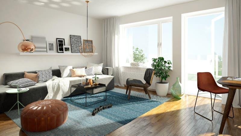 Скандинавская живущая комната стоковые изображения rf
