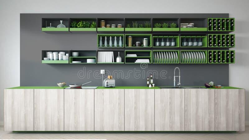 Скандинавская серая кухня с деревянными и зелеными деталями, минимальными бесплатная иллюстрация