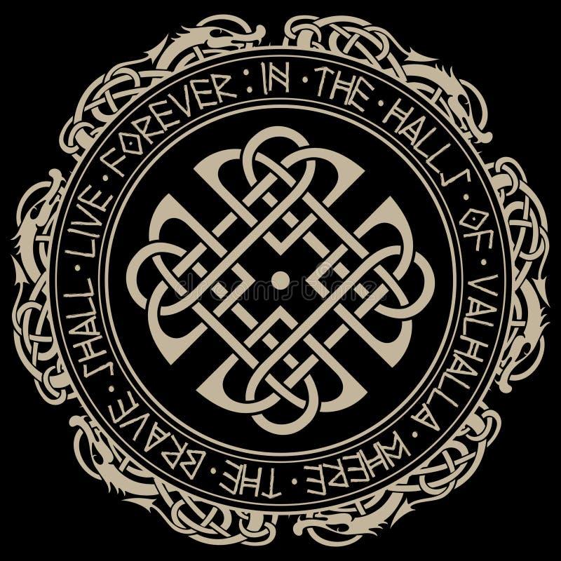 Скандинавские картина и круг норвежских runes и драконов бесплатная иллюстрация