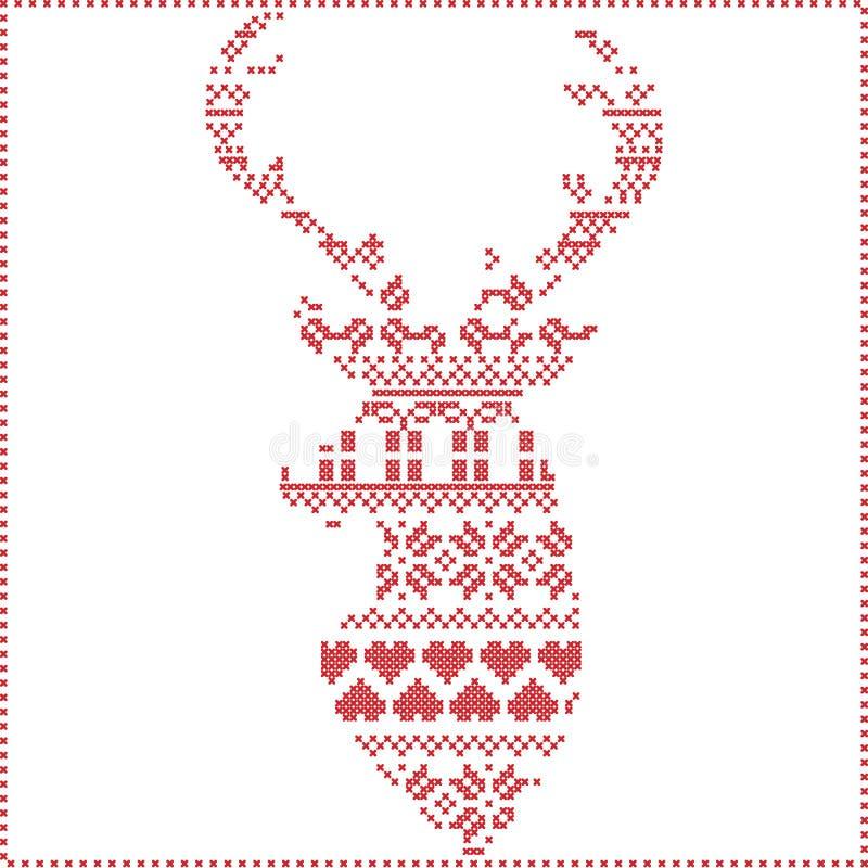 Скандинавский нордический стежок зимы, вязать картина рождества внутри в форме формы северного оленя включая снежинки, деревья xm стоковые изображения