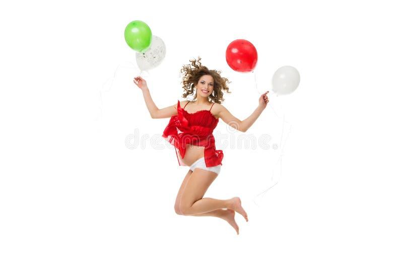 Скача беременная девушка стоковое изображение