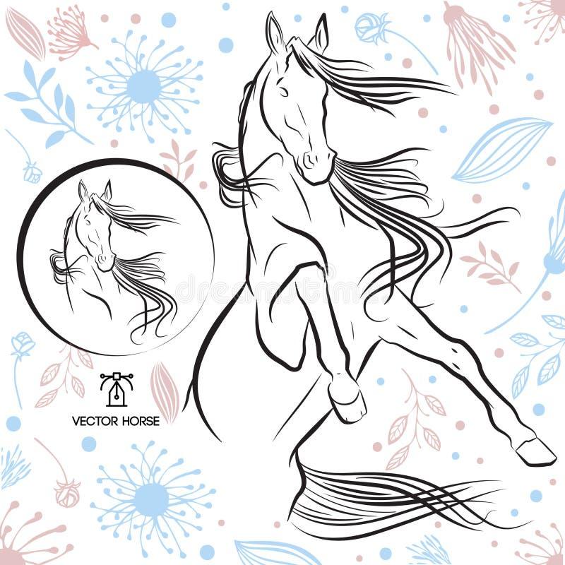 Скача вектор лошади изолированный на красочной предпосылке делает по образцу вектор иллюстрация штока