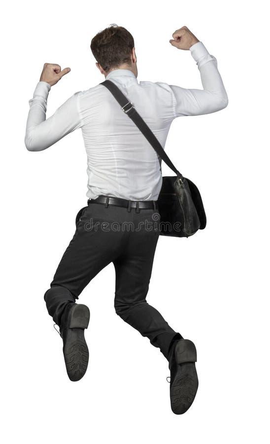 Скача взгляд задней части человека стоковые изображения rf